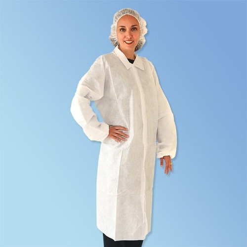 Get Keystone SMS White Frocks, Elastic Wrist, No Pockets, 30/cs T251-SMS-WH at Harmony