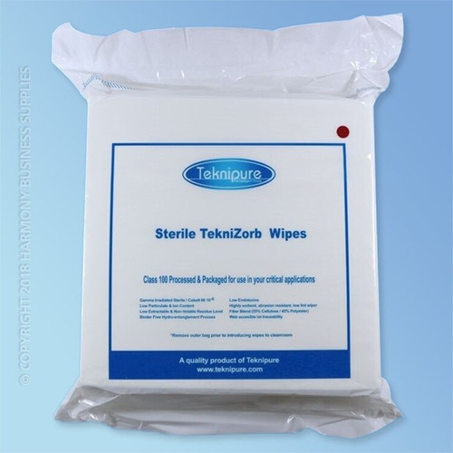 """Get TekniZorb 12"""" x 12"""" Sterile Poly/Cell NonWoven Cleanroom Wiper TZ112S-Sterile at Harmony"""