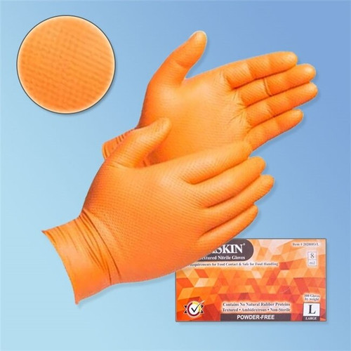 Get DuraSkin 8 mil Orange Nitrile Food Service/General Purpose Gloves, Diamond Grip, PF LIB2028HO at Harmony