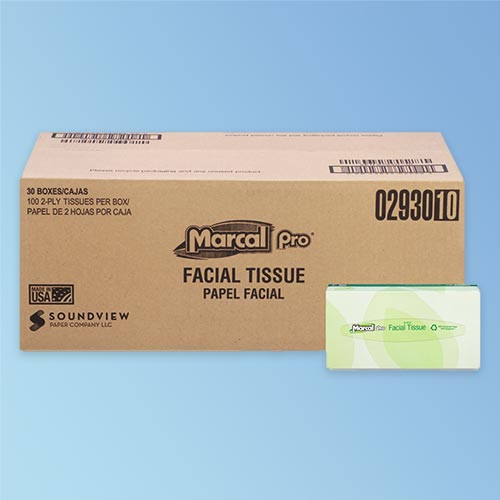 Marcal Pro 2 Ply White Facial Tissue, 100% Recycled, 100/box, 30 boxes/case (2930) at Harmony