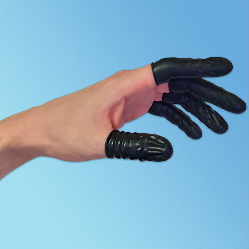 Suzuki ESD Static Dissipative 4 mil Black Latex Finger Cots, 720/bag | Harmony Lab and Safety Supplies