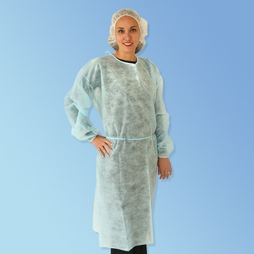 Get Blue Keystone Polypropylene Isolation Gowns with elastic cuff, 50/case T270 at Harmony