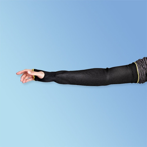 "Superior Glove KP1T18TH Black Cutban Tapered 18"" Cut Resistant Arm Sleeves, with Thumbhole, ANSI A2 Cut Resisistance"