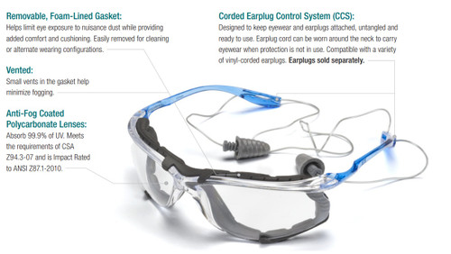3M Virtua CCS Protective Eyewear with Foam Gasket, Clear Anti-Fog Lens, ea   Harmony Lab and Safety Supplies