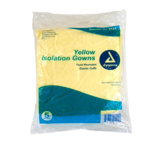 Dynarex Polypropylene Isolation Gowns with elastic cuff, Fluid Resistant, Yellow, 50/case | Harmony Lab and Safety Supplies