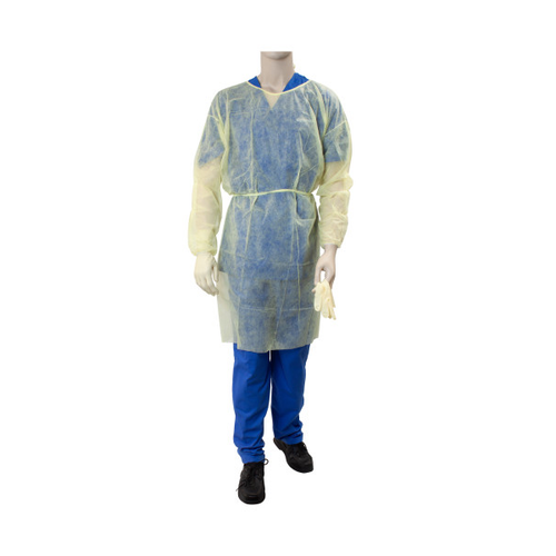 Get Dynarex Polypropylene Isolation Gowns with elastic cuff, Fluid Resistant, Yellow, 50/case (DYN2141) at Harmony