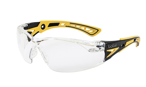 Get Bolle Safety Rush+ Small Safety Glasses, Yellow/Black Temples, Clear Anti-Scratch Anti-Fog Lens (40250) at Harmony