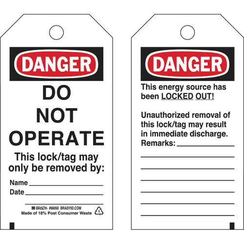 Get Brady Lockout Tags, DANGER DO NOT OPERATE, Self-Laminating, Polyester (BRC-TAG-SELF) at Harmony