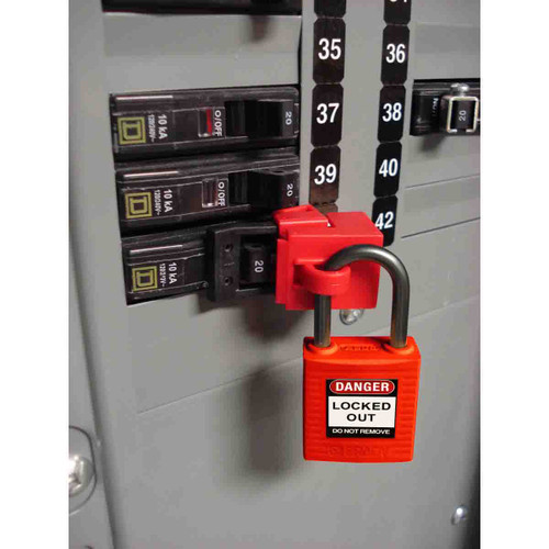 Get Brady Non-conductive Nylon Lockout Padlocks that prevent electricity from traveling from the shackle to the key.