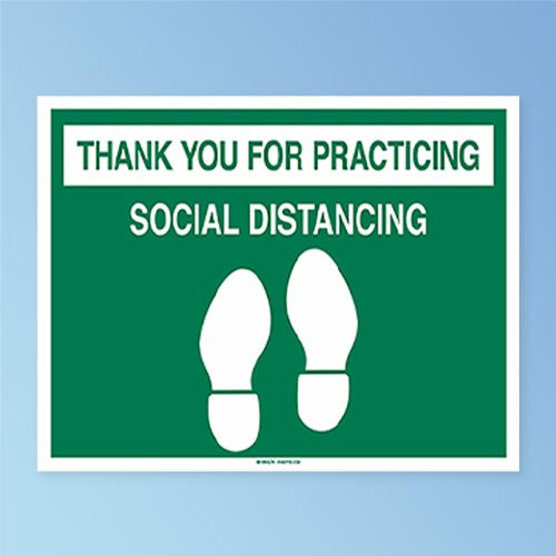 Sign Only View Brady Thank You For Practicing Social Distancing Anti-Skid Vinyl Floor Sign Decal, Green on White, 14 in. x 18 in. (170213) at Harmony Lab and Safety Supplies