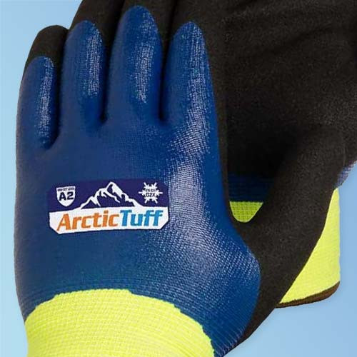 Get Arctic Tuff Thermal Insulated High Visibility Cut Resistant Nitrile Double-Coated Work Gloves, Hi-Vis Green/Blue (BF4784LG) at Harmony Lab and Safety Supplies