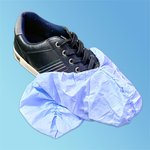 Keystone Non-Skid Polypropylene/Polyethylene Shoe Covers, Blue, 150/pair (HSC-SG). Slip and Water Resistant Disposable Shoe Covers - Don't slip with coated grip shoe covers! Safe protection from liquid spills, dust, and more. Harmony Lab & Safety Supplies.