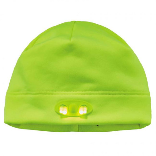 Ergodyne  16802 N-Ferno 6804 Skull Cap Beanie Hat with LED Lights, Lime, at Harmony Lab & Safety Supplies (LED on)