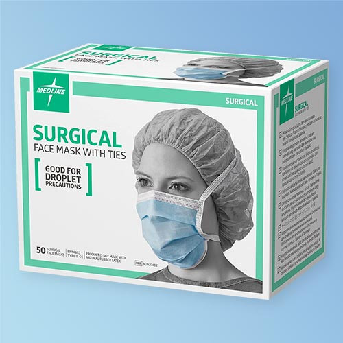 Box image of Medline Medlite Surgical Face Masks with Ties, Blue, NON27402, 50/box, Non-Irritating, Lightweight, and Disposable Liquid and Droplet Protection Barrier at Harmony Lab and Safety