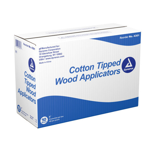 Dynarex Cotton Tipped Wood Applicator, 3 in. Wood Shaft, DYN4301, 10000/case by Harmony Lab and Safety Supplies