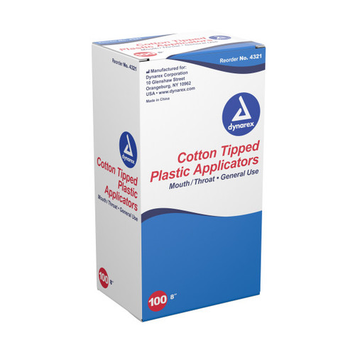"Get Dynarex Large Tip Cotton Tipped Plastic Applicator, 8"", 100/box, 4321, at Harmony Lab & Safety Supplies"