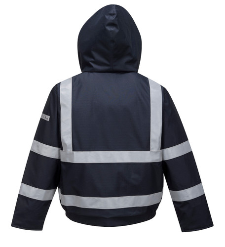 Get Bizflame Flame Resistant Bomber Jacket, Navy (S783) at Harmony Lab & Safety Supplies (back view)
