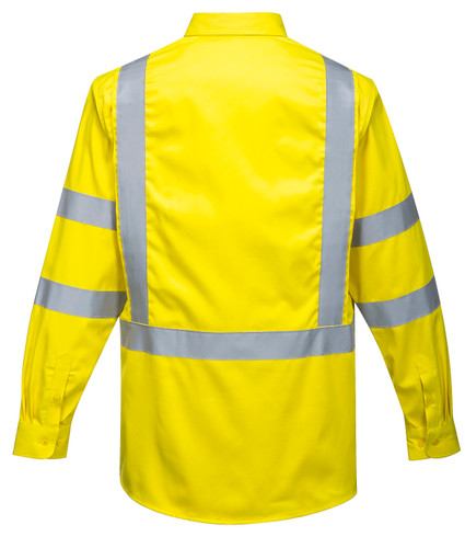 Bizflame FR95 88/12 CAT 2 Arc Rated Flame Resistant Hi-Vis Work Shirt, Yellow by Harmony Lab & Safety Supplies