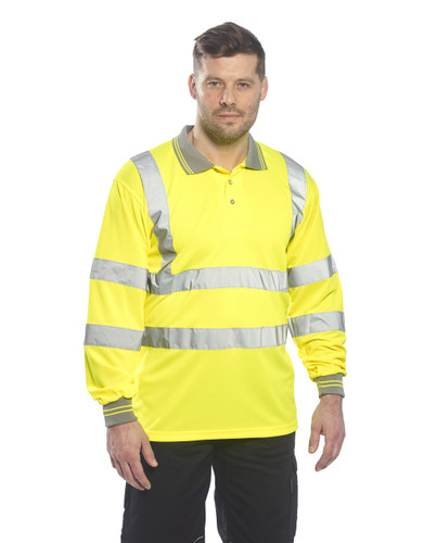 Get Portwest Class 3 Hi-Vis Polo Shirt, Long Sleeves w/Knit Cuffs (S277-YER) at Harmony Lab & Safety Supplies