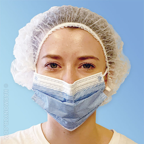 Front White Pleated Disposable Bouffant Caps K111-WH by Keystone at Harmony Lab & Safety Supplies.