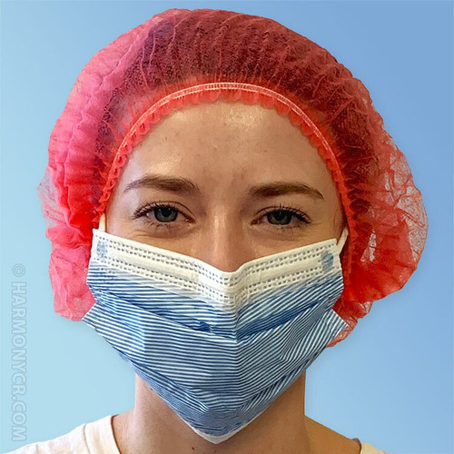 Front Red Pleated Disposable Bouffant Caps K111-RD by Keystone at Harmony Lab & Safety Supplies.