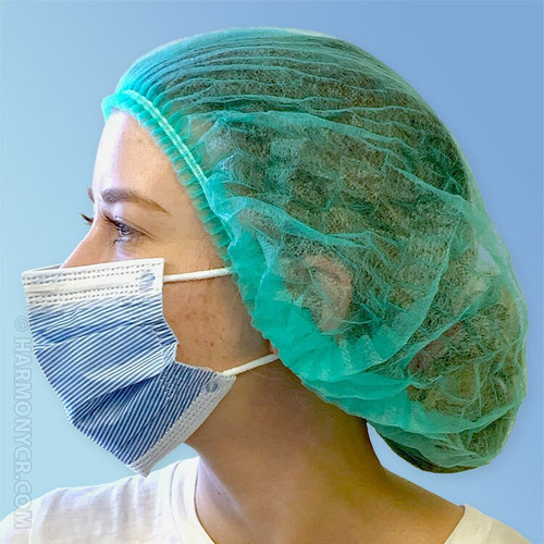 Side Green Pleated Disposable Bouffant Caps K111-GN by Keystone at Harmony Lab & Safety Supplies.