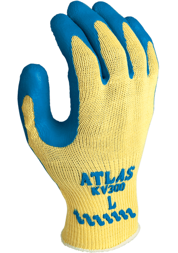 Showa Atlas KV300 Textured Latex Coated Kevlar Glove, Blue/Yellow, 12/pairs   Harmony Lab and Safety Supplies