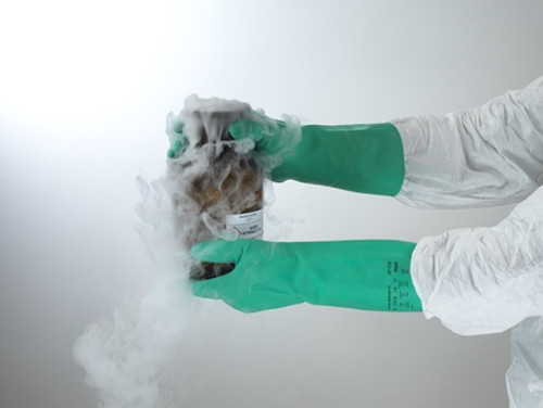 """Ansell AlphaTec Solvex 37-175 13"""" Green Nitrile Glove, Flock Lined, with smooth surface finish for handling delicate parts 
