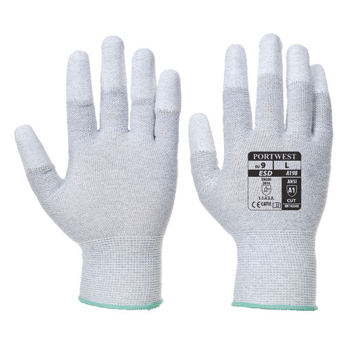 Portwest A198 Antistatic Polyurethane Fingertip Coated Glove, White/Gray, 12/pack   Harmony Lab and Safety Supplies