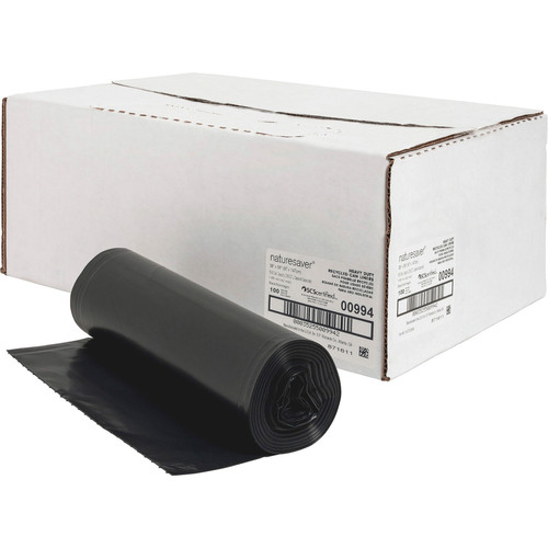 Nature Saver 00994 Black Low Density Trash Can Liners, 38 x 58 in., 55 Gal, 1.65 Mil, 100/case with coreless roll   Harmony Lab and Safety Supplies