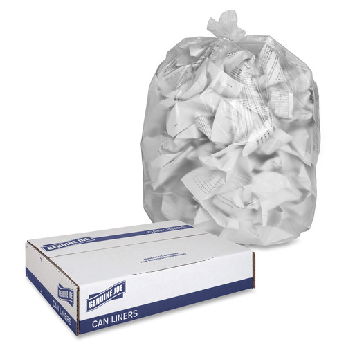 Clear High Density Trash Can Liners, 43 x 48 in., 56 gal., 16 micron, 200/case (GJO01760)   Harmony Lab and Safety Supplies