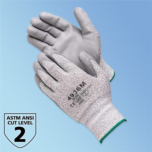 Get ANSI A2 Cut Resistant Polyurethane Coated Glove, Gray/Gray, Pair LIB4936 at Harmony