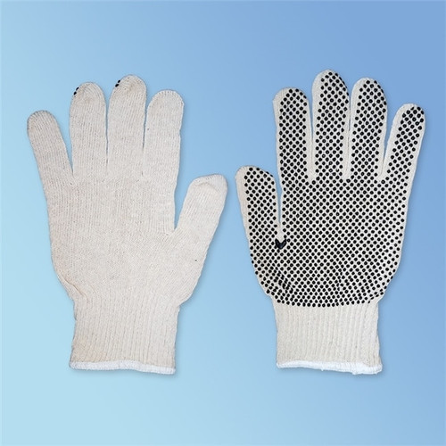 Black PVC Dotted One-Side String Knit Cotton/Polyester Gloves, Natural White, 12/pairs | Liberty Glove 4716SP/LD | Harmony Lab and Safety Supplies