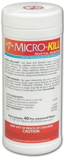 """Micro-Kill Alcohol Free Disinfectant Wipes, 7"""" x 8"""", 40/can"""