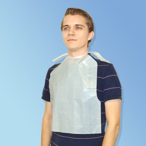 "Medline NON24267A Waterproof Plastic Bibs for Adults, 15"" x 21"""
