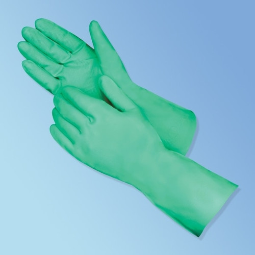 """13"""" Green Nitrile Flocked Line Glove with Embossed Grip"""