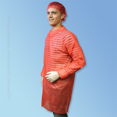 front side view PolyGard (15300R) Red Polypropylene Frocks without pockets