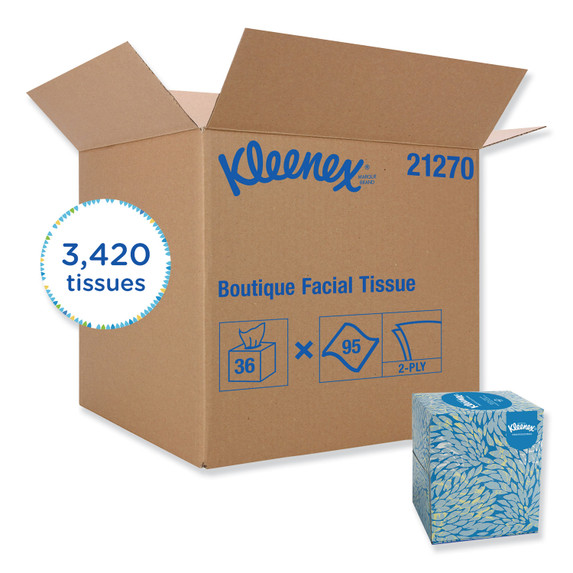 Get Kleenex Boutique 2 Ply Facial Tissue, 95/box, 36/case S21270 at Harmony