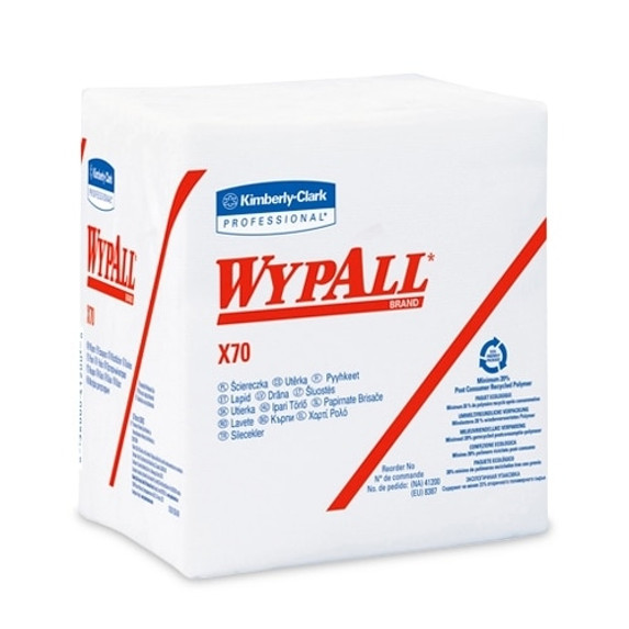 """Get Wypall X70 1/4-Fold White Wipes, 12.5"""" x 12"""", 12 packs/case L41200 at Harmony"""