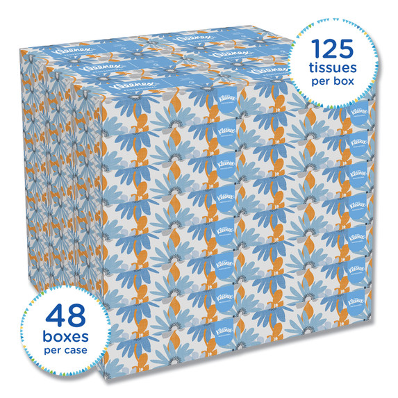 Kleenex 2 Ply Facial Tissue, 125/box, 48 boxes/case