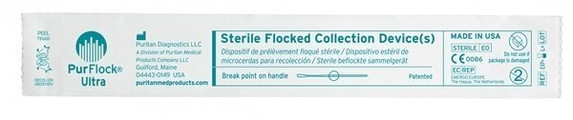 Sterile PurFlock Ultra Flocked Swab, Elongated Tip, Breakpoint 100mm, 500/case | Harmony Lab and Safety Supplies