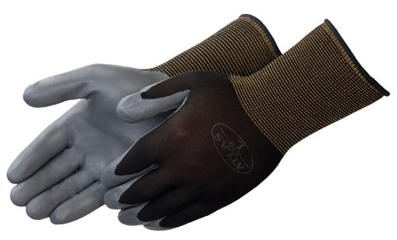 Get Showa Atlas 370 Assembly Grip Nitrile Coated Glove, Dark Gray/Black, 12/pair LIB370BK at Harmony