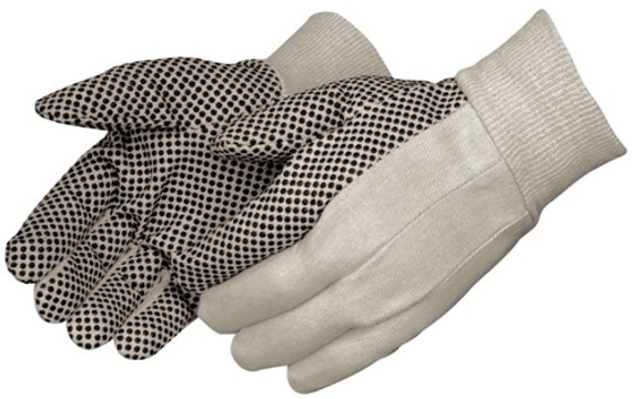 Get Mens or Ladies Cotton Canvas Glove w/Black PVC Dots, 12/pr LIB4505 at Harmony