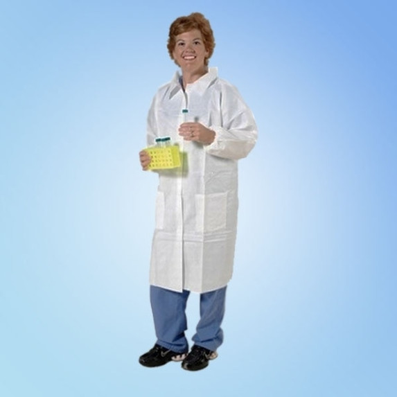 Get Microporous Lab Coats, Elastic Wrist, 3 Pockets, White, 30/cs T252MICRO at Harmony
