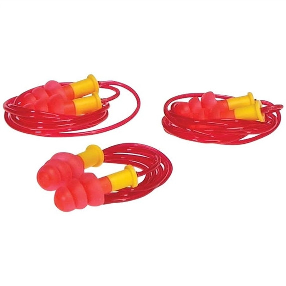 DuraPlugs Reusable Ear Plugs, NRR 25, Corded, 100/pair
