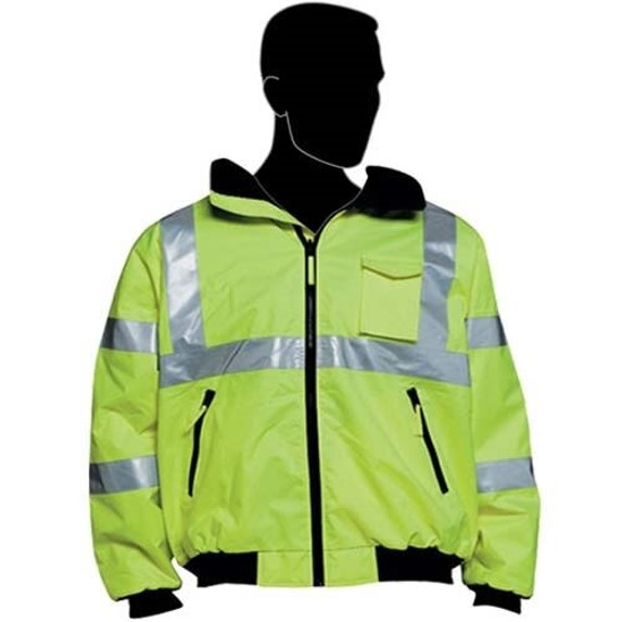 HivizGard Class 3 Insulated Bomber Jacket with Hood, Lime Green, each