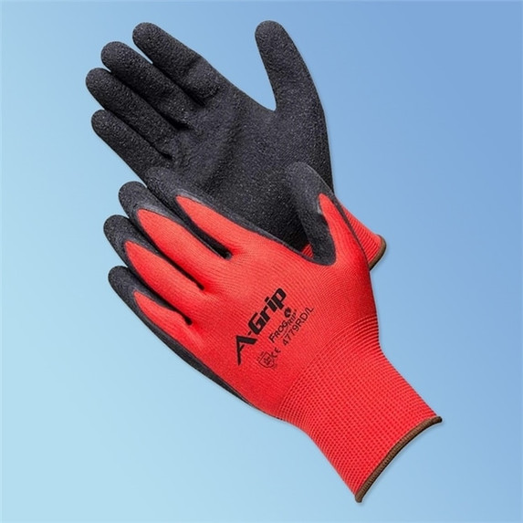 Get A-Grip Textured Latex Coated Glove, Red/Black, 12/pair LIB4779RD at Harmony