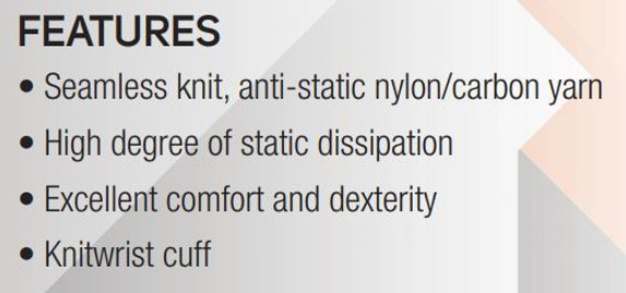Features Sure Knit Static Dissipative Nylon Inspection Gloves, 1/pair SSTNCF at Harmony