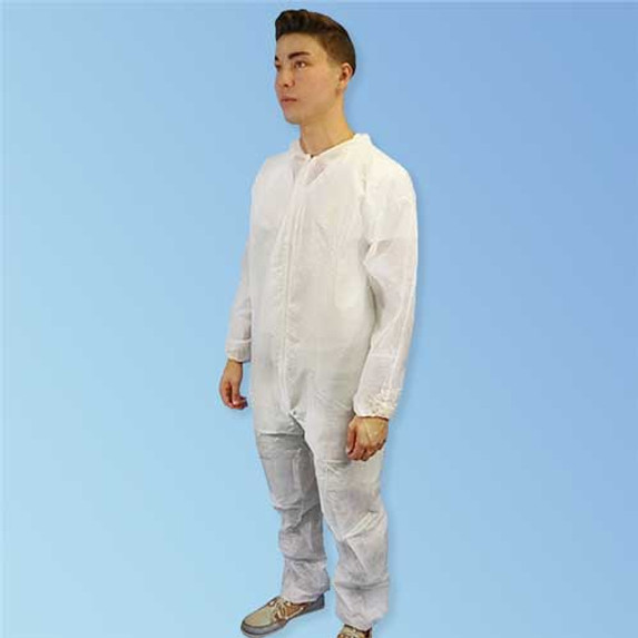 Front of PureGard 17125 Polyethylene (PE) Coated Polypropylene Disposable White Coveralls with Elastic Wrists and Ankles at Harmony Lab & Safety Supplies