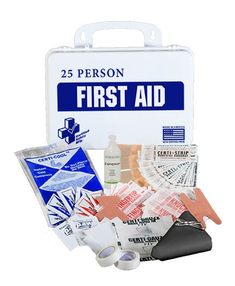 Certified Safety K610-029 16PW  First Aid Kit, 25 Person, Plastic Case at Harmony